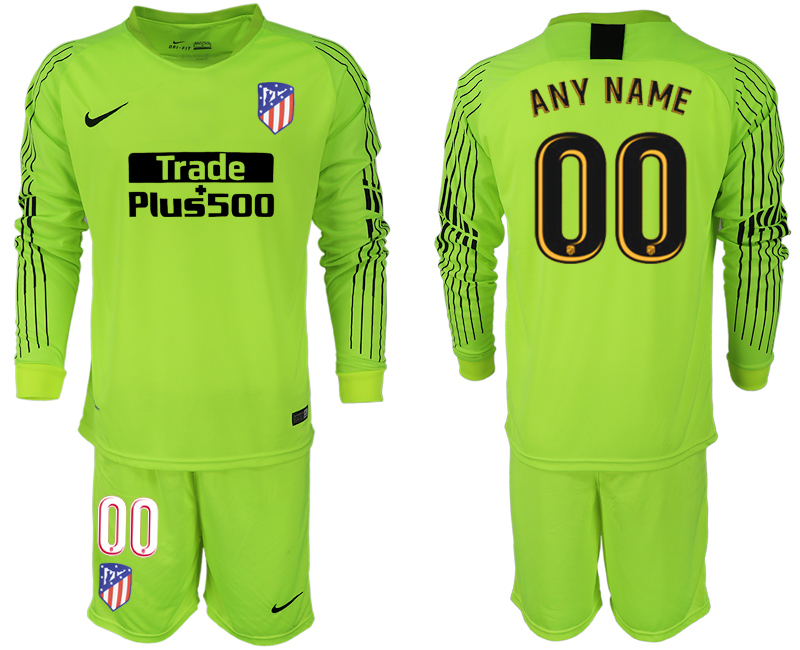Men 2018-2019 club Atletico Madrid fluorescent green long sleeve goalkeeper customized soccer jersey