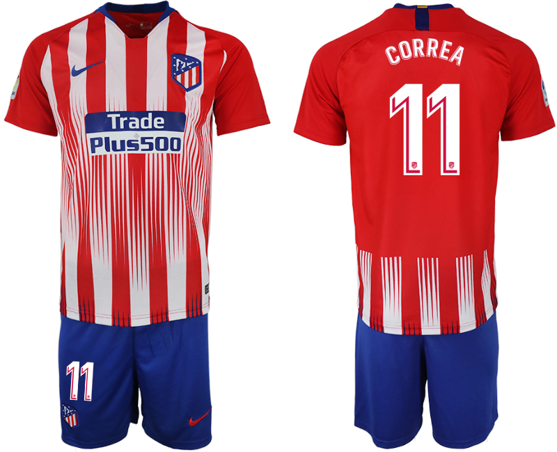 Men 2018-2019 club Atletico Madrid home 11 red soccer jersey