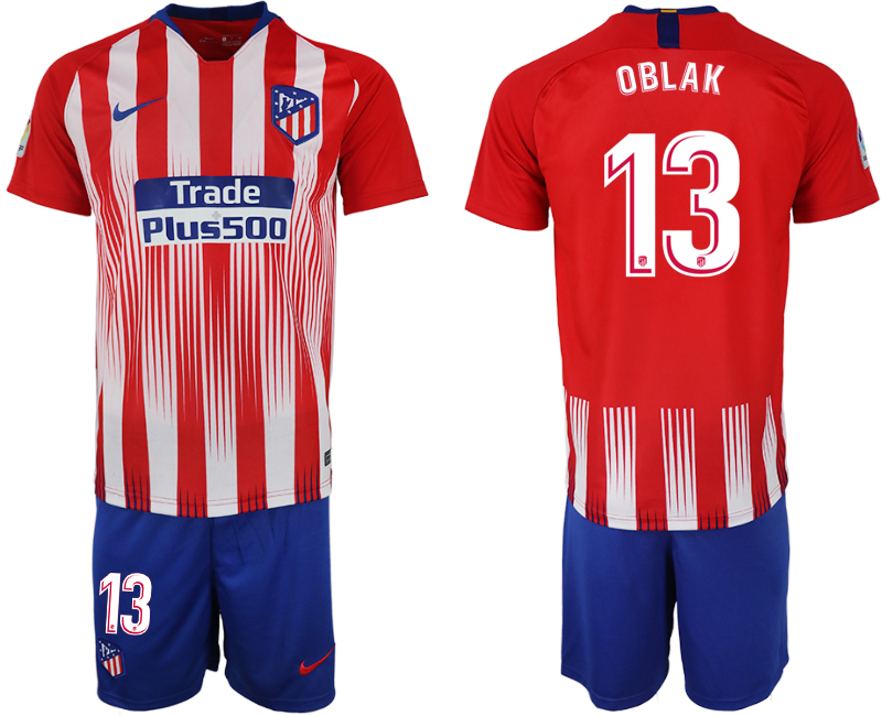 Men 2018-2019 club Atletico Madrid home 13 red soccer jersey