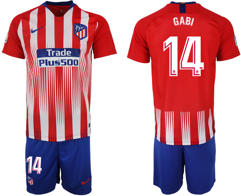 Men 2018-2019 club Atletico Madrid home 14 red soccer jersey
