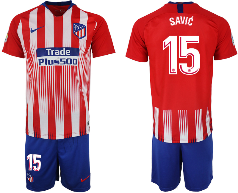 Men 2018-2019 club Atletico Madrid home 15 red soccer jersey