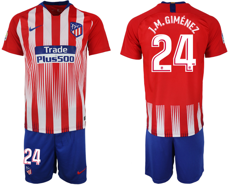 Men 2018-2019 club Atletico Madrid home 24 red soccer jersey