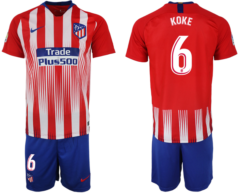 Men 2018-2019 club Atletico Madrid home 6 red soccer jersey