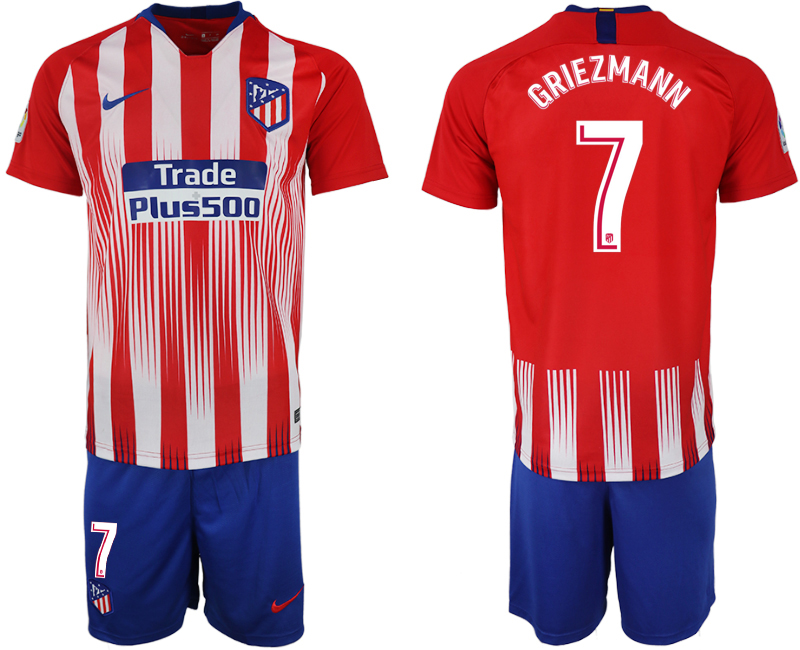 Men 2018-2019 club Atletico Madrid home 7 red soccer jersey
