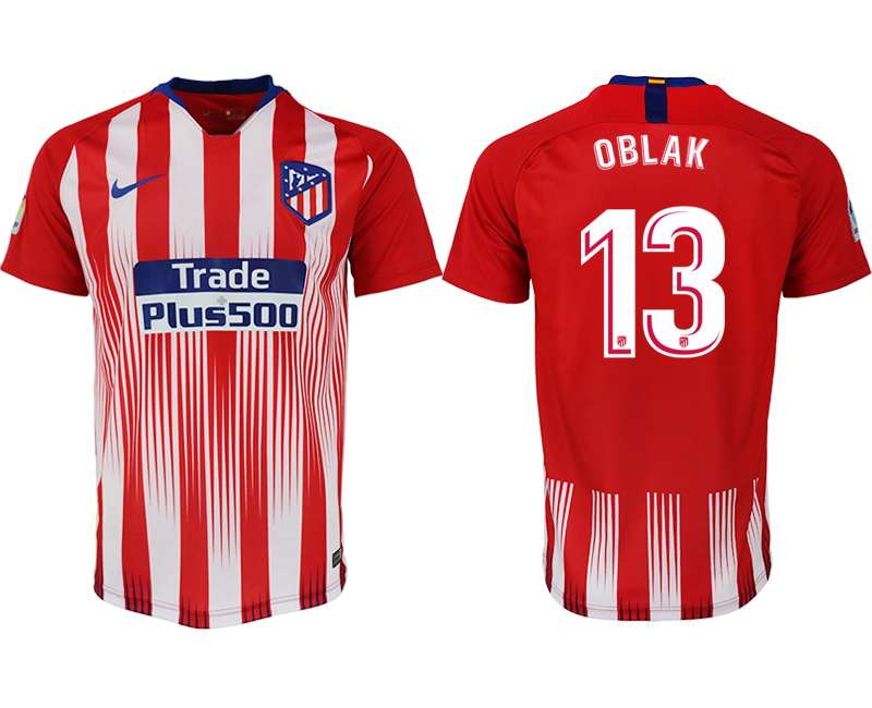 Men 2018-2019 club Atletico Madrid home aaa version 13 red soccer jersey