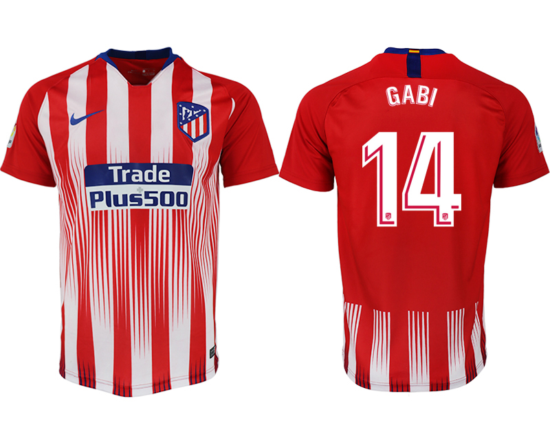 Men 2018-2019 club Atletico Madrid home aaa version 14 red soccer jersey