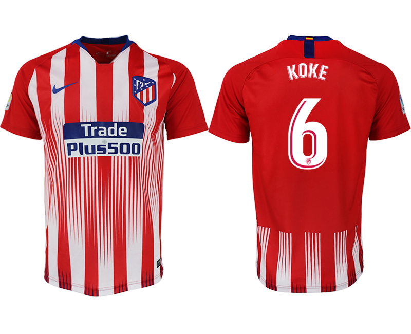 Men 2018-2019 club Atletico Madrid home aaa version 6 red soccer jersey