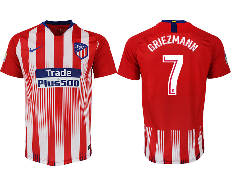 Men 2018-2019 club Atletico Madrid home aaa version 7 red soccer jersey