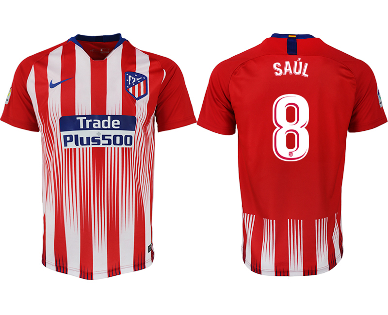 Men 2018-2019 club Atletico Madrid home aaa version 8 red soccer jersey