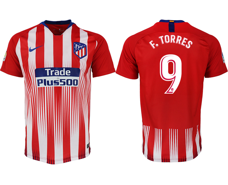 Men 2018-2019 club Atletico Madrid home aaa version 9 red soccer jersey