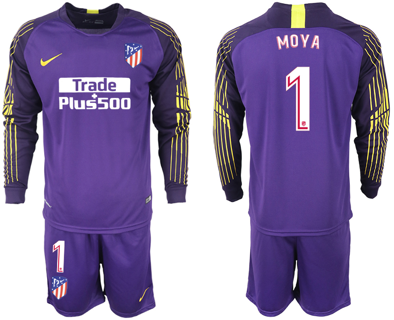 Men 2018-2019 club Atletico Madrid purple goalkeeper long sleeve 1 soccer jersey
