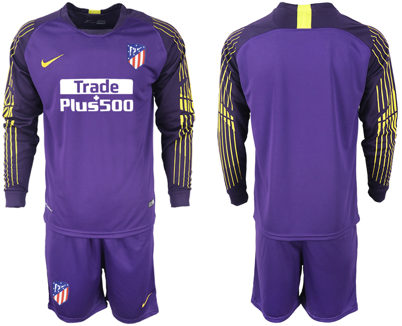 Men 2018-2019 club Atletico Madrid purple goalkeeper long sleeve soccer jersey