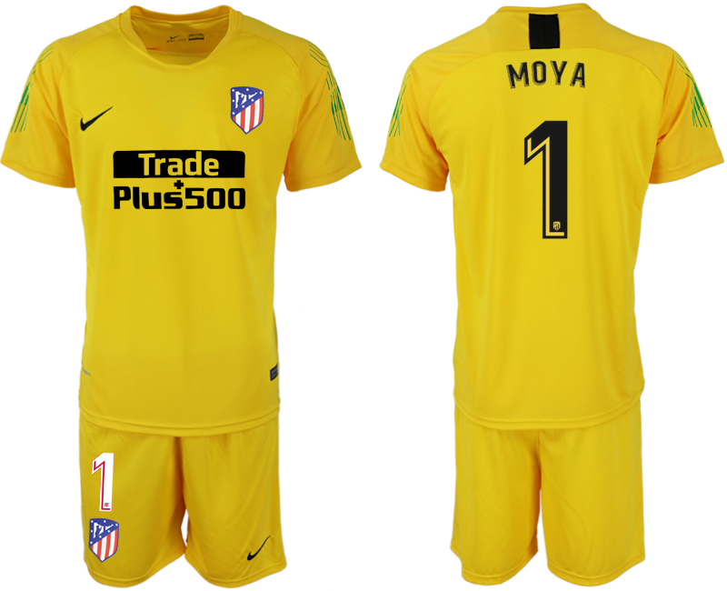 Men 2018-2019 club Atletico Madrid yellow goalkeeper 1 soccer jersey