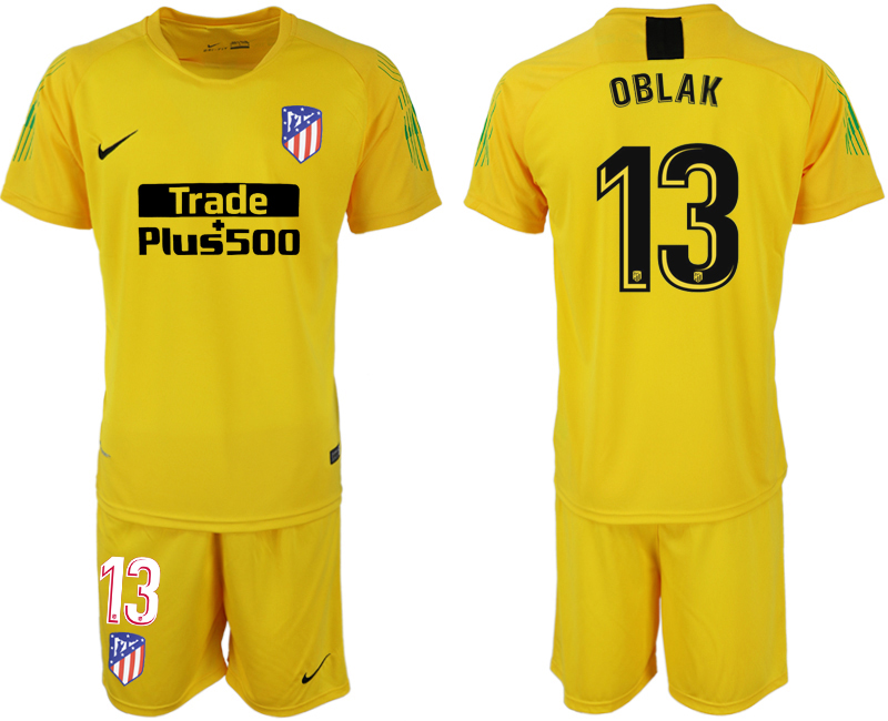Men 2018-2019 club Atletico Madrid yellow goalkeeper 13 soccer jersey