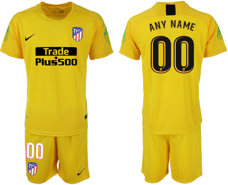 Men 2018-2019 club Atletico Madrid yellow goalkeeper customized soccer jersey