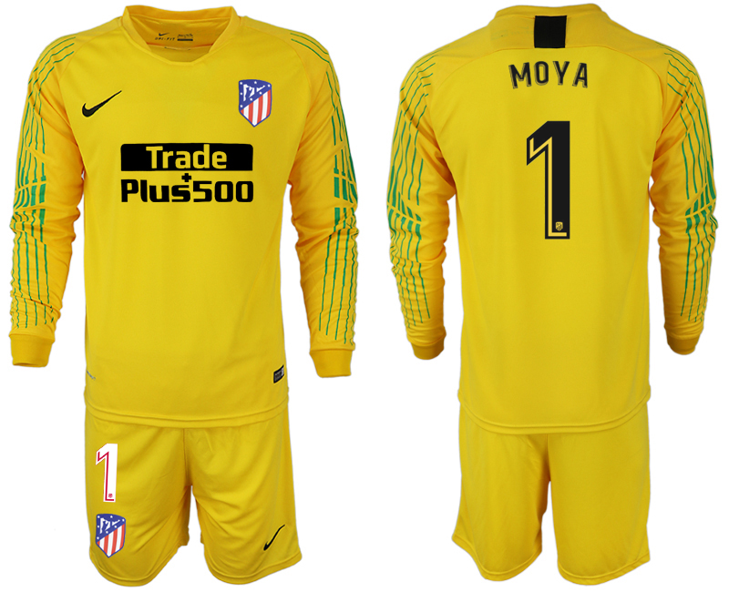 Men 2018-2019 club Atletico Madrid yellow goalkeeper long sleeve 1 soccer jersey