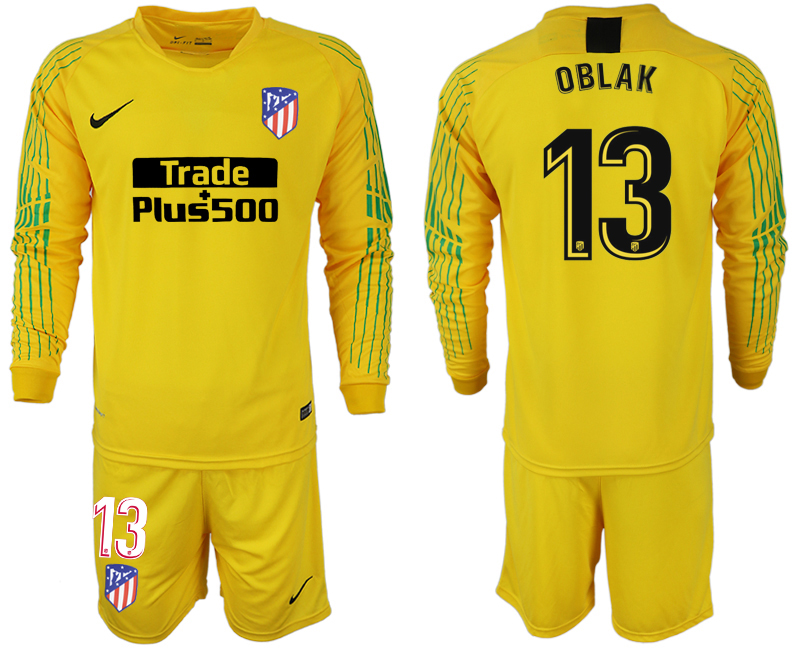 Men 2018-2019 club Atletico Madrid yellow goalkeeper long sleeve 13 soccer jersey