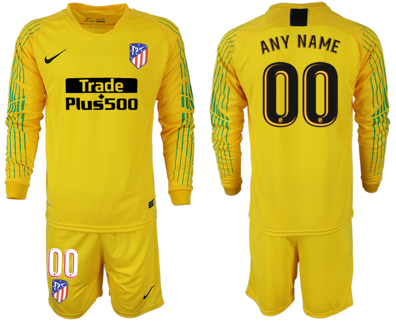 Men 2018-2019 club Atletico Madrid yellow goalkeeper long sleeve customized soccer jersey