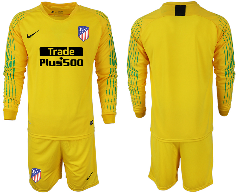 Men 2018-2019 club Atletico Madrid yellow goalkeeper long sleeve soccer jersey
