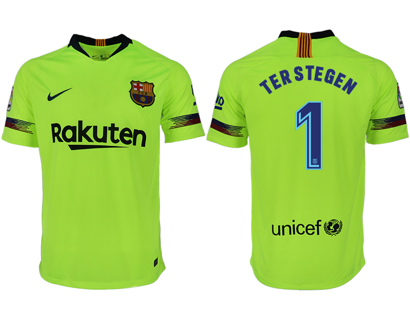 Men 2018-2019 club Barcelona away aaa version 1 green soccer jersey