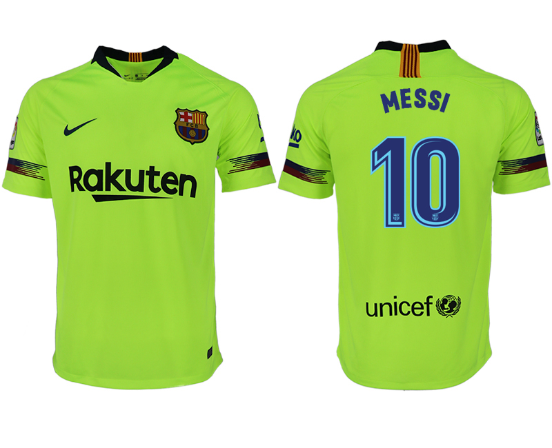 Men 2018-2019 club Barcelona away aaa version 10 green soccer jersey