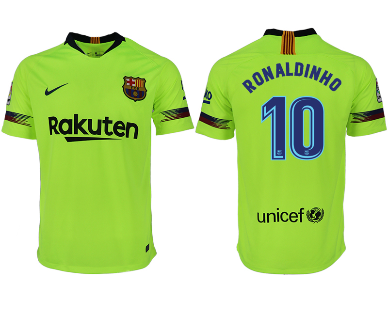Men 2018-2019 club Barcelona away aaa version 10 green soccer jersey1