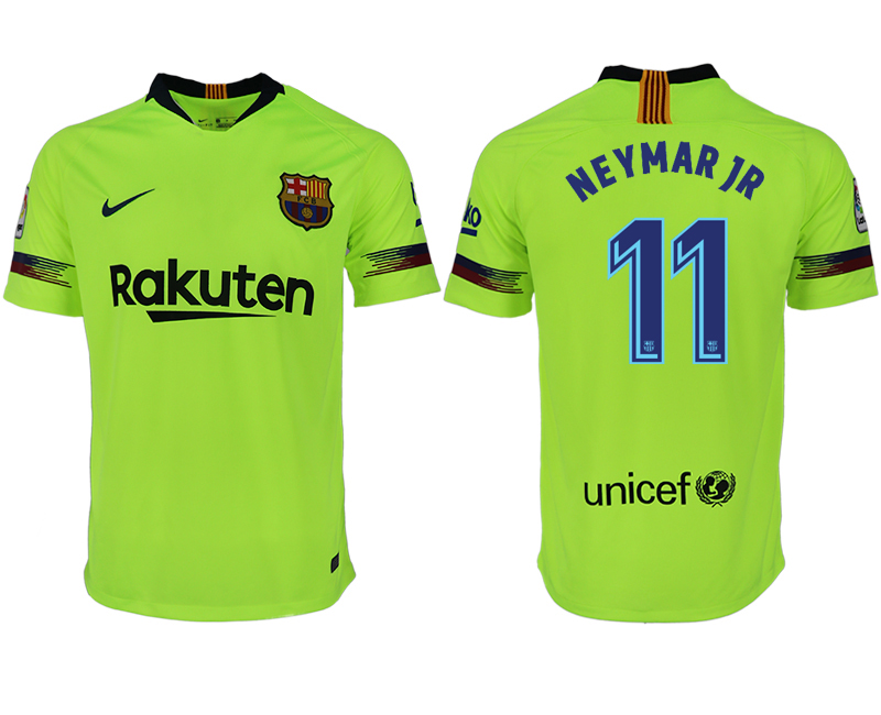 Men 2018-2019 club Barcelona away aaa version 11 green soccer jersey