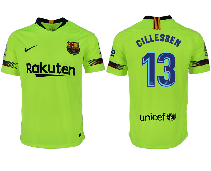 Men 2018-2019 club Barcelona away aaa version 13 green soccer jersey