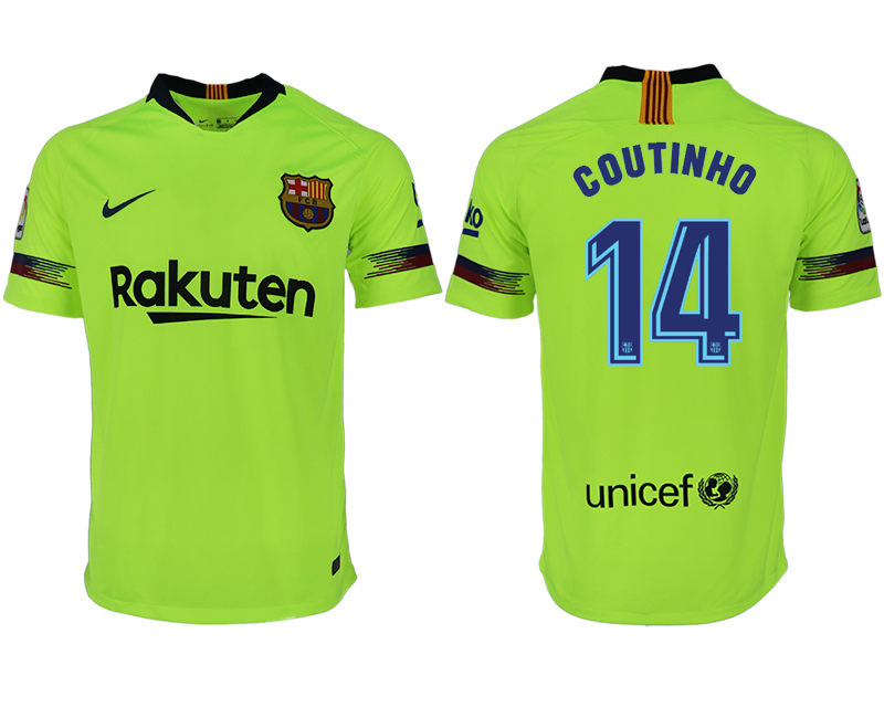 Men 2018-2019 club Barcelona away aaa version 14 green soccer jersey