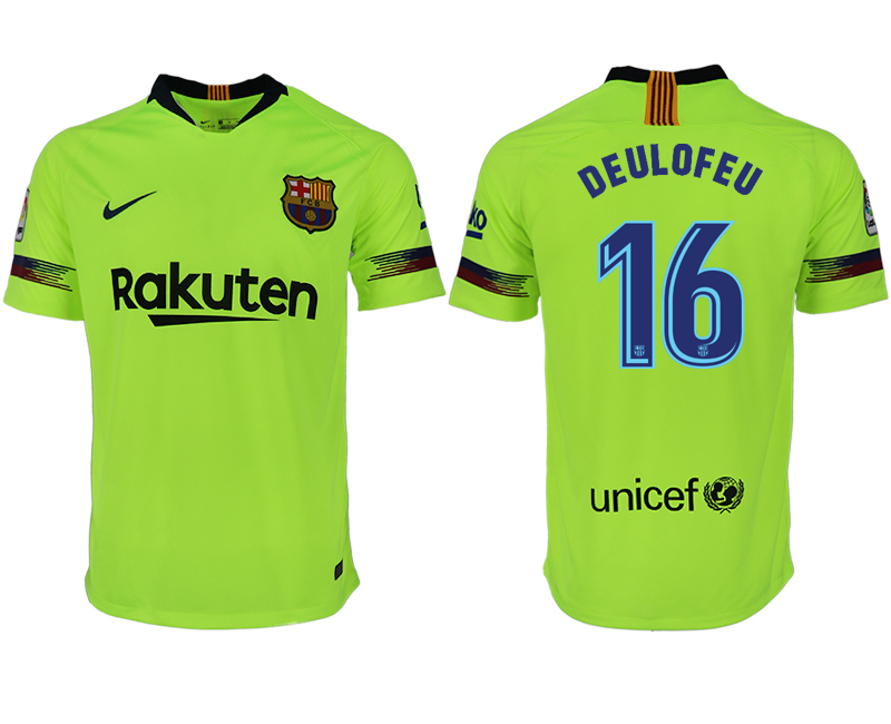 Men 2018-2019 club Barcelona away aaa version 16 green soccer jersey