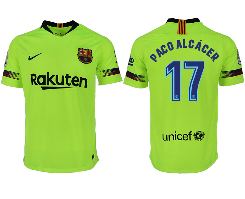 Men 2018-2019 club Barcelona away aaa version 17 green soccer jersey