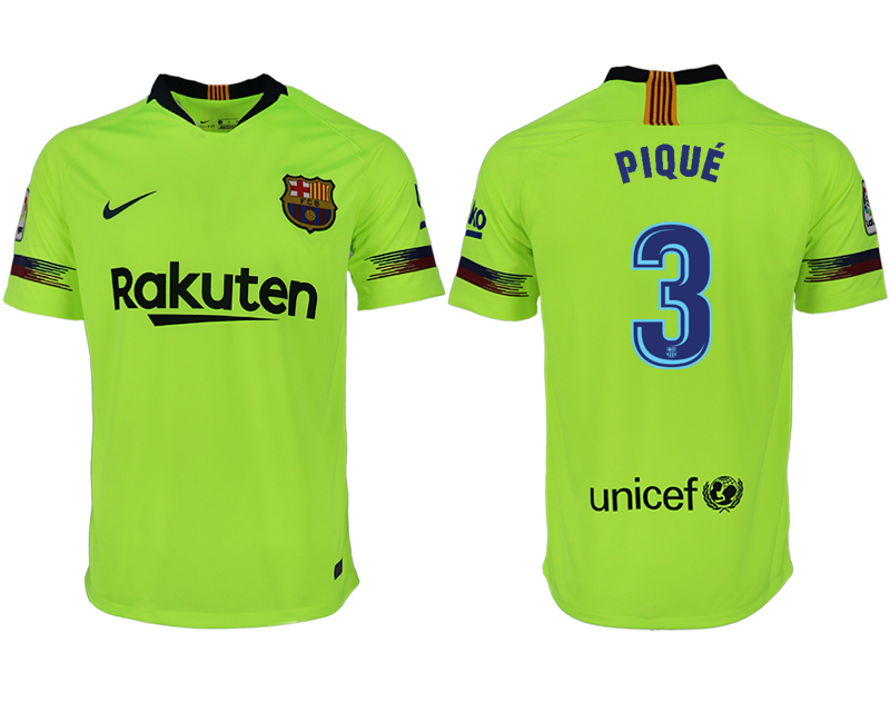 Men 2018-2019 club Barcelona away aaa version 3 green soccer jersey