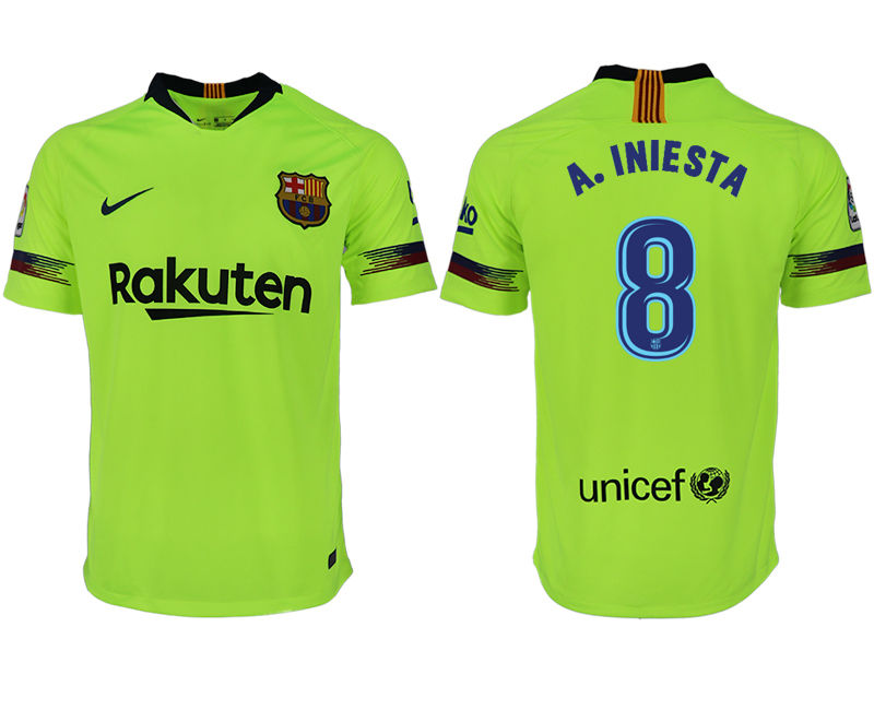 Men 2018-2019 club Barcelona away aaa version 8 green soccer jersey