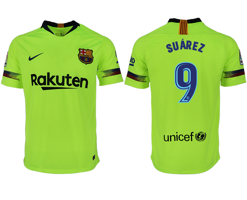 Men 2018-2019 club Barcelona away aaa version 9 green soccer jersey