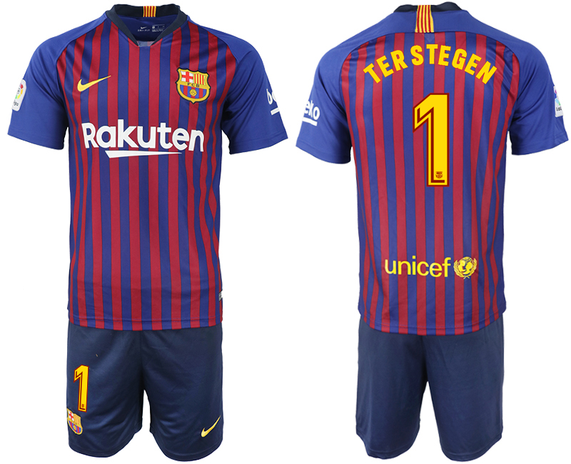 Men 2018-2019 club Barcelona home 1 blue soccer jersey