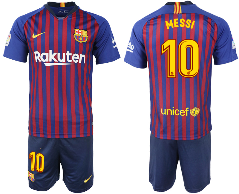 Men 2018-2019 club Barcelona home 10 blue soccer jersey