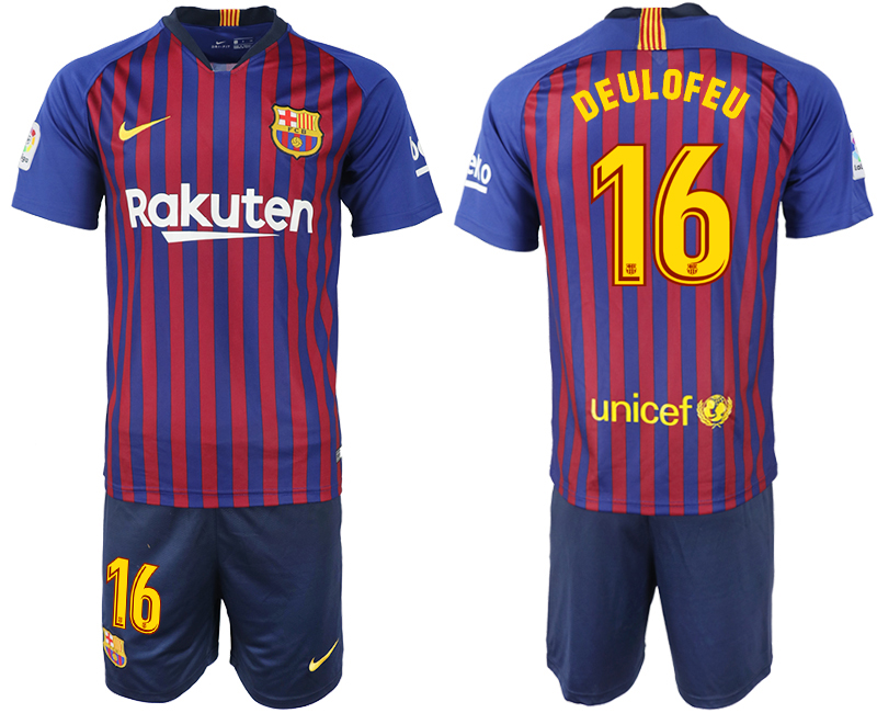 Men 2018-2019 club Barcelona home 16 blue soccer jersey