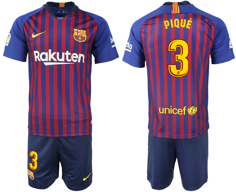 Men 2018-2019 club Barcelona home 3 blue soccer jersey