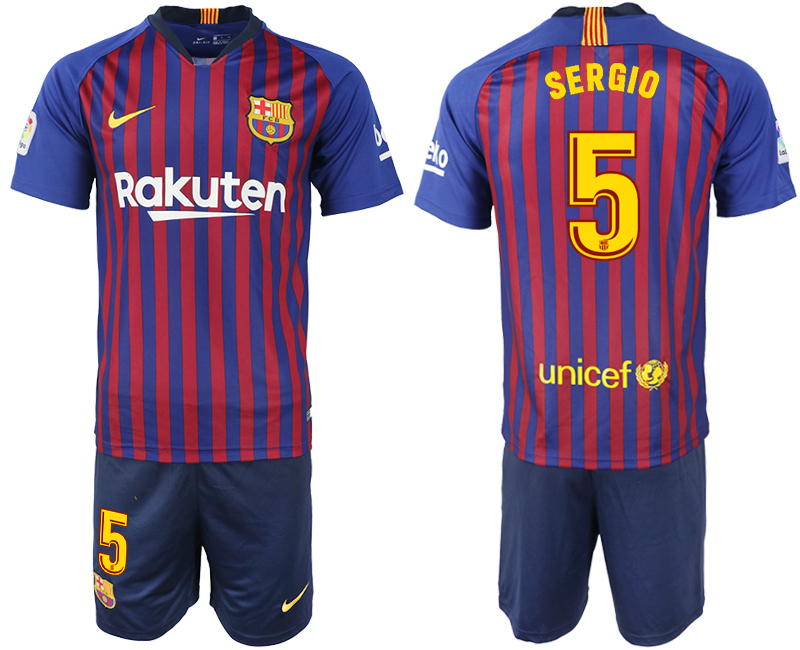 Men 2018-2019 club Barcelona home 5 blue soccer jersey