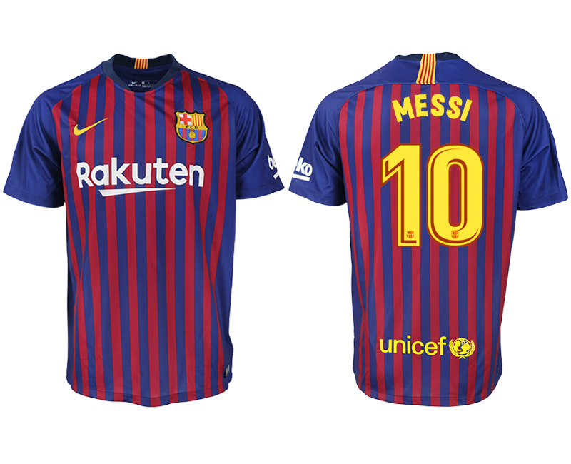 Men 2018-2019 club Barcelona home aaa version 10 blue soccer jersey