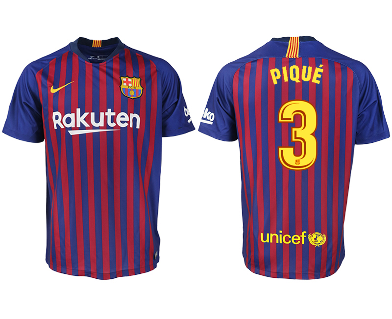 Men 2018-2019 club Barcelona home aaa version 3 blue soccer jersey