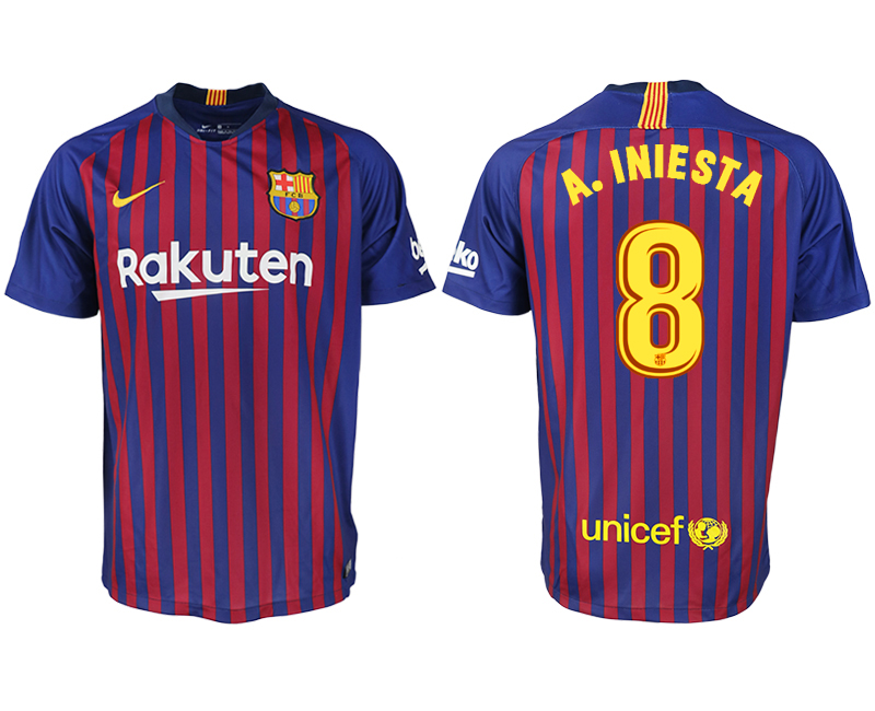 Men 2018-2019 club Barcelona home aaa version 8 blue soccer jersey
