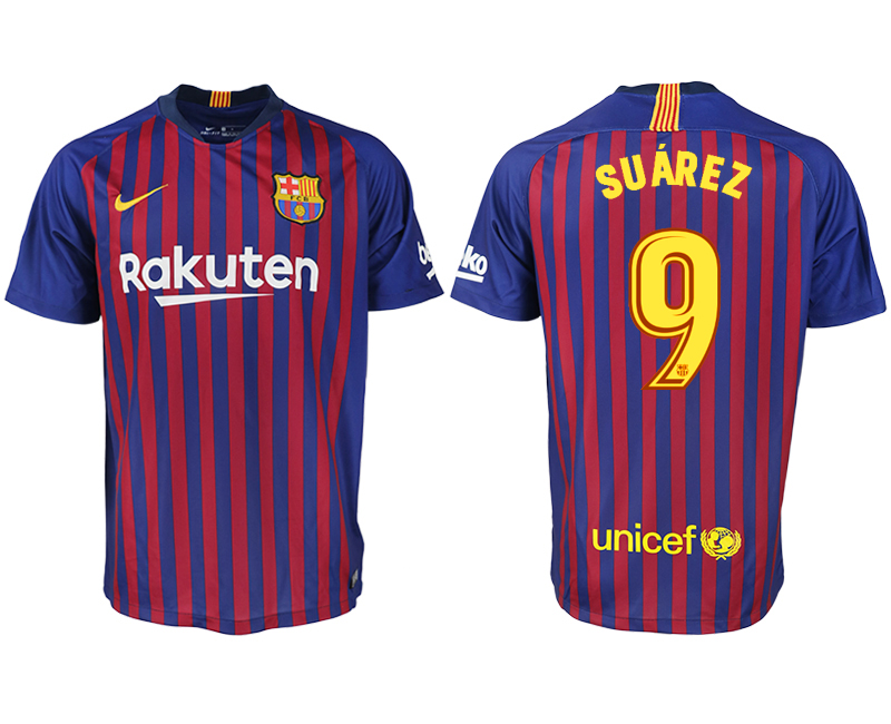 Men 2018-2019 club Barcelona home aaa version 9 blue soccer jersey