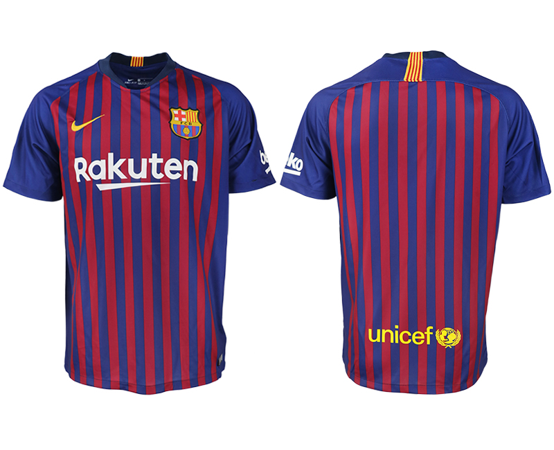 Men 2018-2019 club Barcelona home aaa version blank blue soccer jersey