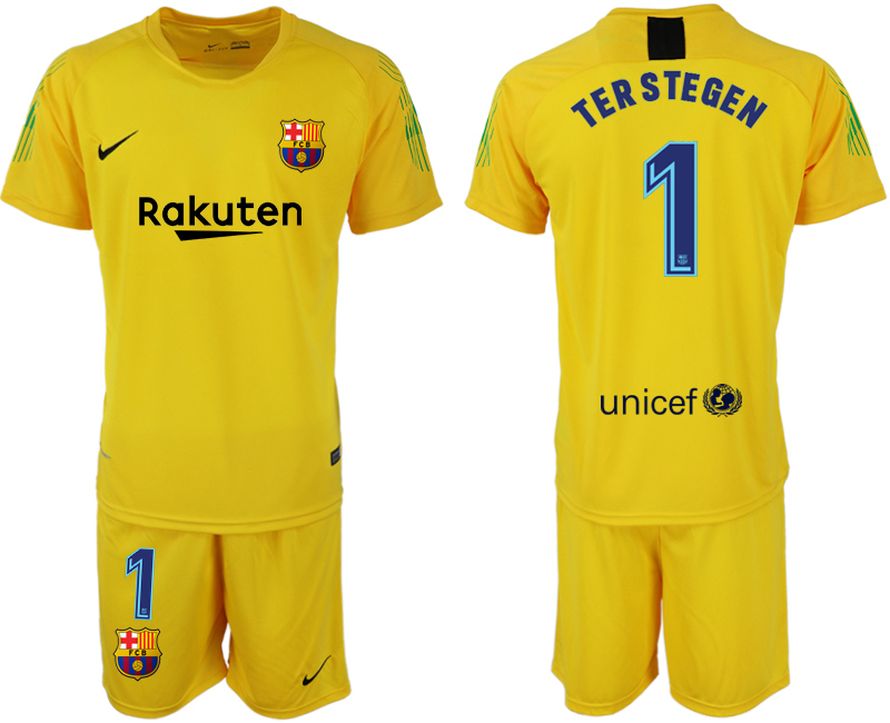 Men 2018-2019 club Barcelona yellow goalkeeper 1 soccer jersey