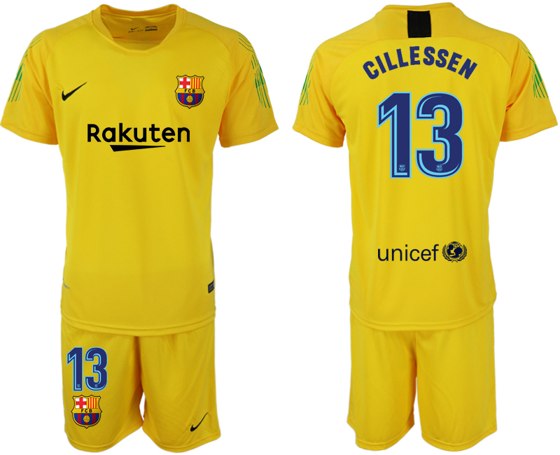 Men 2018-2019 club Barcelona yellow goalkeeper 13 soccer jersey