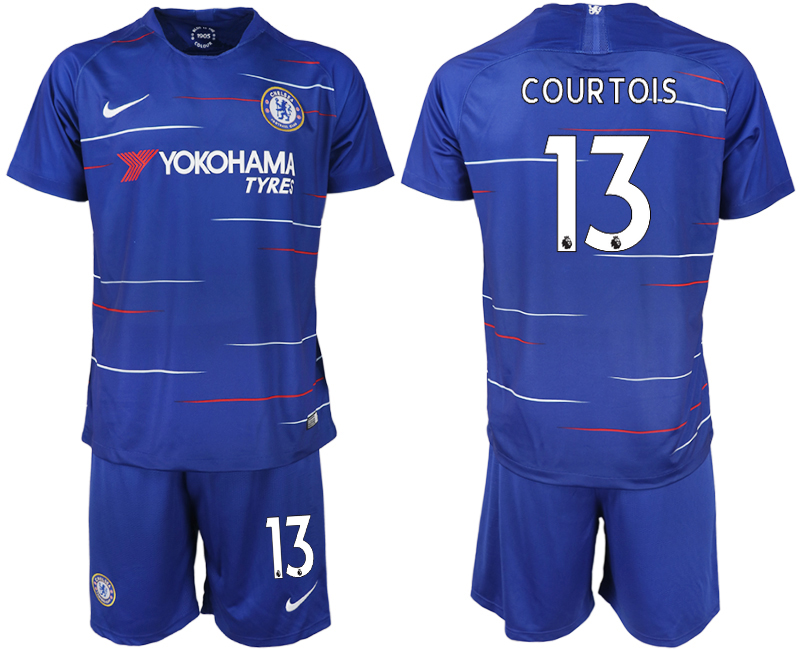 Men 2018-2019 club Chelsea FC home 13 blue soccer jerseys
