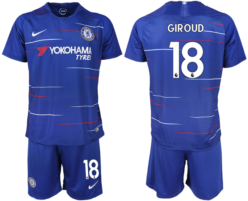 Men 2018-2019 club Chelsea FC home 18 blue soccer jerseys