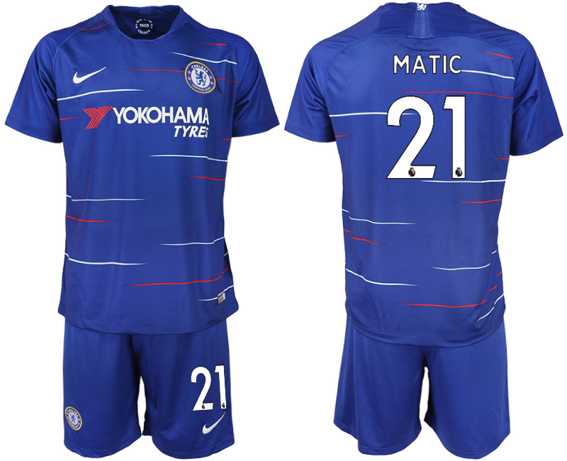 Men 2018-2019 club Chelsea FC home 21 blue soccer jerseys