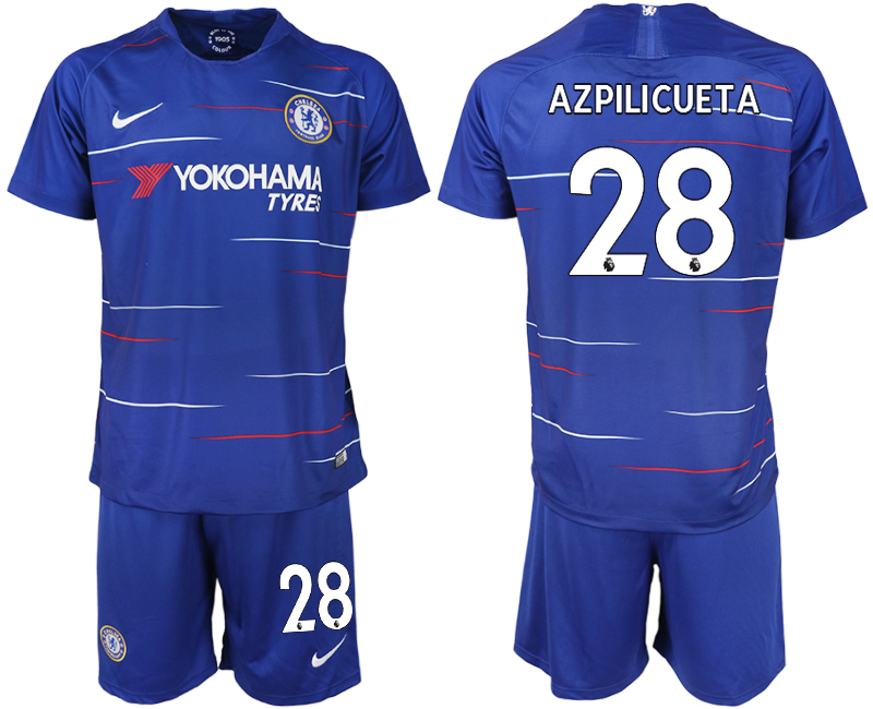 Men 2018-2019 club Chelsea FC home 28 blue soccer jerseys
